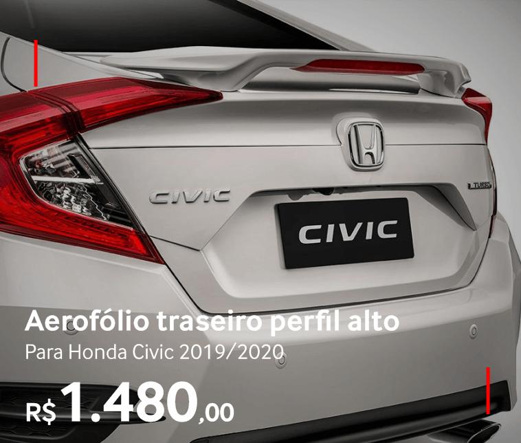 Aerofólio traseiro perfil alto para Honda Civic