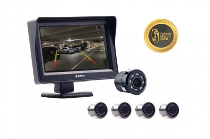 Kit monitor com câmera de ré led visão noturna e sensor de estacionamento preto Tech One