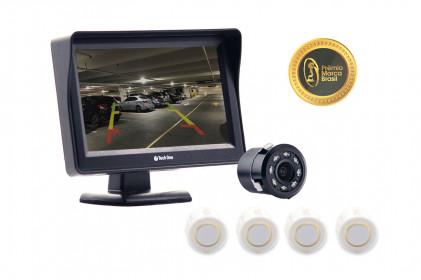 Kit monitor com câmera de ré led visão noturna e sensor de estacionamento branco Tech One