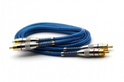 Cabo RCA Prime Plug Metal 5mm Transp Azul 1m 100% Cobre Svart