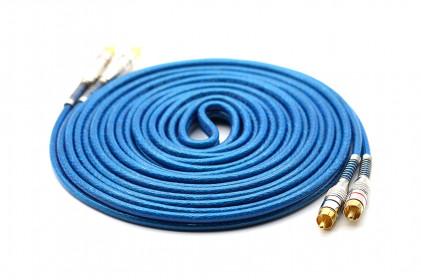 Cabo RCA Prime Plug Metal 5mm Transp Azul 5m Svart