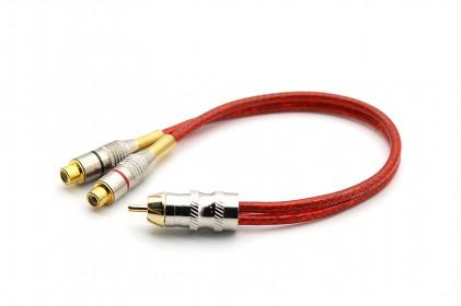 Cabo Y Prime Plug Metal 5mm Vermelho 2F e 1M 100% Cobre Svart