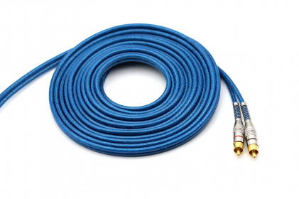 Cabo RCA Prime Plug Metal 5mm Transp Azul 5m 100% Cobre Svart
