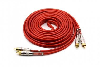 Cabo RCA Prime Plug Metal 5mm Transp Vermelho 5m 100% Cobre Svart