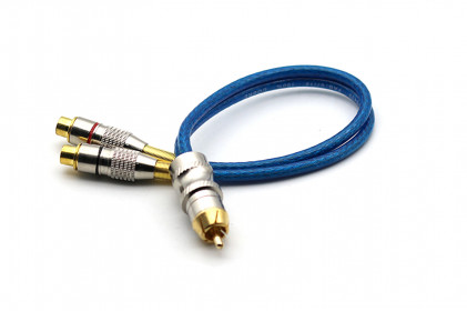 Cabo Y Prime Plug Metal 5mm Azul 2F e 1M 100% Cobre Svart