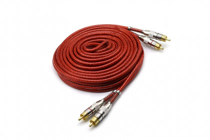 Cabo RCA Prime Plug Metal 5mm 5m Vermelho Svart